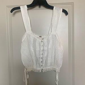 White lace free people crop top